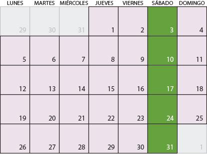 Calendario de Agosto 2019