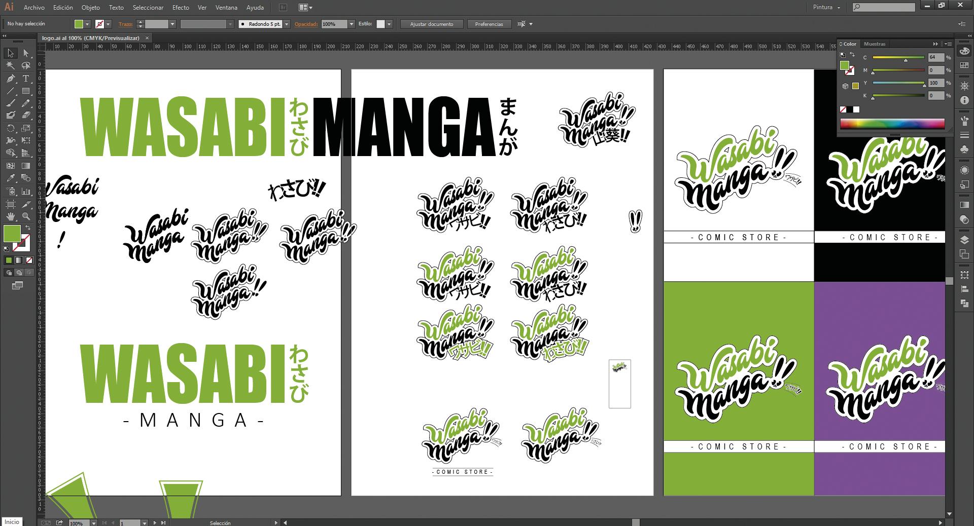 illustrator desarrollo del logo wasabi manga